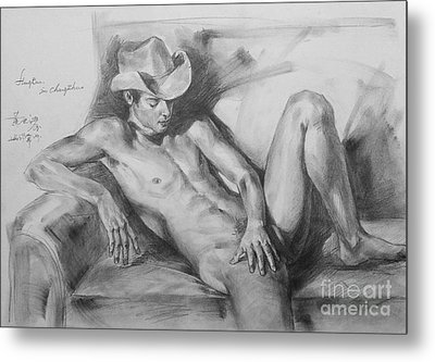 Original Drawing Sketch Charcoal Chalk Male Nude Gay Man On Sofa Art Pencil On Paper By Hongtao Metal Print