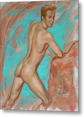 Original Impression Man Body Oil Painting Male Nude On Canvas#16-2-6-05 Metal Print by Hongtao     Huang