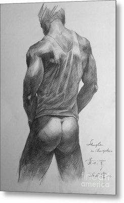 Original Man Gay Pencil Drawing Sketch Art On Peper By Hongtao Metal Print by Hongtao     Huang