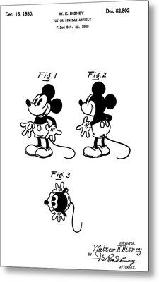 Original Mickey Mouse Patent Metal Print by Dan Sproul