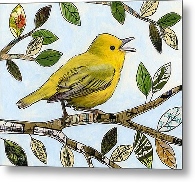 Original Music Bird Art Print Painting ... The Finch's Song Metal Print by Amy Giacomelli