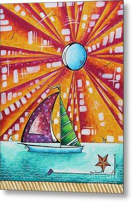 Original Nautical Pop Art Sailboat Painting Sail Away By Megan Duncanson Metal Print by Megan Duncanson