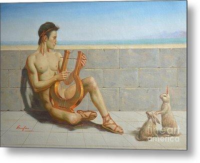 Original Oil Painting Gay Man Art-male Nude And Rabbit#16-02-5-41 Metal Print