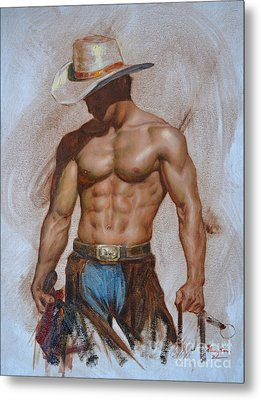 Original Oil Painting Gay Man Body Art-cowboy#16-2-5-19 Metal Print by Hongtao     Huang