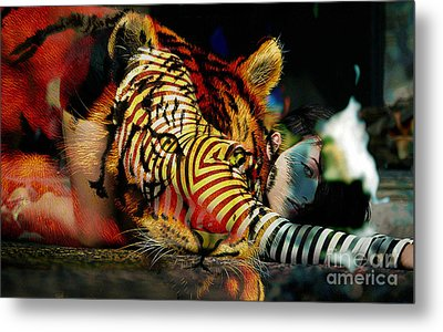 Original Olivia Wild And The Tiger Painting Metal Print by Marvin Blaine