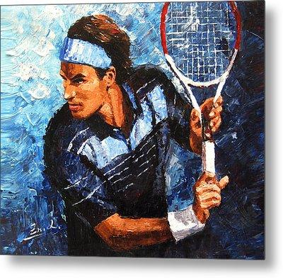 original palette knife painting Roger Federer Metal Print