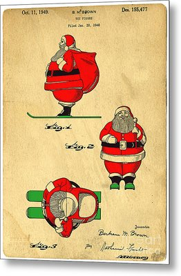 Original Patent For Santa On Skis Figure Metal Print by Edward Fielding