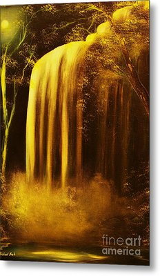 Moon Shadow Waterfalls- Original Sold - Buy Giclee Print Nr 30 Of Limited Edition Of 40 Prints    Metal Print