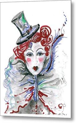 Original Watercolor Fashion Illustration Metal Print by Marian Voicu