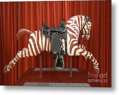 Original Zebra Carousel Ride Metal Print by Liane Wright
