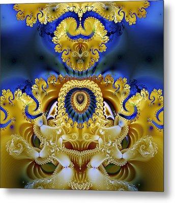 Ornamental Fountain - A Fractal Design Metal Print