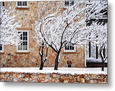 Ornate Historic Stone House In Winter Metal Print by Gary Whitton