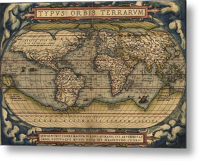 Ortelius Old World Map Metal Print