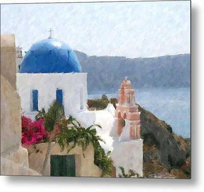 Orthodox Church Santorini Island Greece Metal Print by Dan Chavez