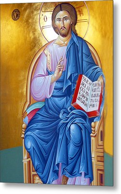 Orthodox Icon Of Jesus In Blue Metal Print by Munir Alawi