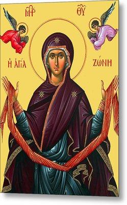 Orthodox Icon Of Mary Metal Print by Munir Alawi