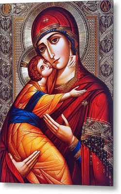 Orthodox Mary And Jesus Metal Print by Munir Alawi