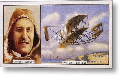 Orville Wright And Biplane Metal Print