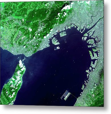 Osaka Bay Metal Print by Nasa/gsfc/meti/japan Space Systems And U.s./japan Aster Science Team