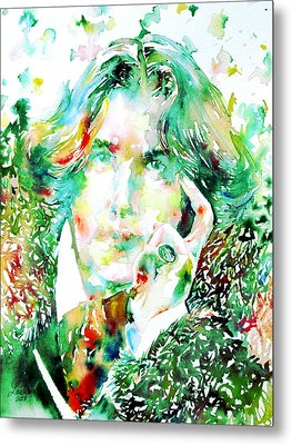 Oscar Wilde Watercolor Portrait.2 Metal Print by Fabrizio Cassetta