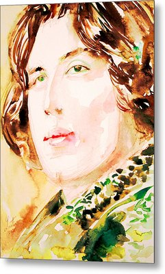 Oscar Wilde Watercolor Portrait.3 Metal Print by Fabrizio Cassetta