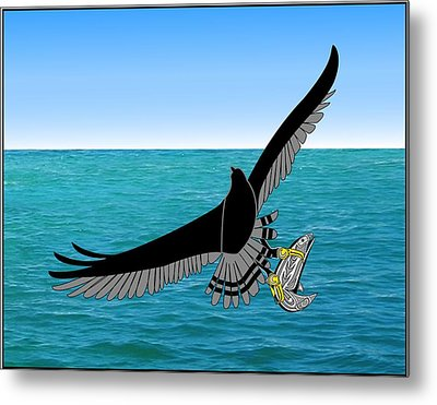 Osprey Over Ocean Metal Print by Fred Croydon