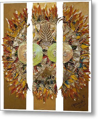 Metal Print featuring the tapestry - textile Osun Sun by Apanaki Temitayo M