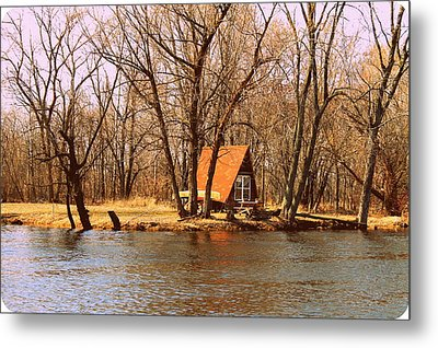 ottage oh the Fox River Metal Print by Victoria Sheldon