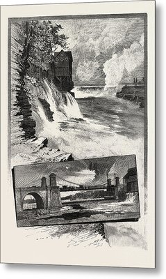 Ottawa, Chaudiere Falls, And Suspension Bridge Metal Print by Canadian School