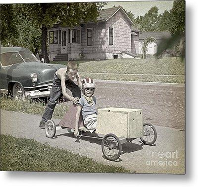 Our Racing Cart Metal Print