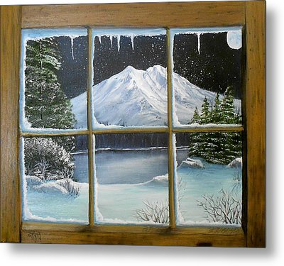 Out My Window-bright Winter's Night Metal Print
