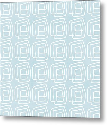 Out Of The Box Blue And White Pattern Metal Print by Linda Woods
