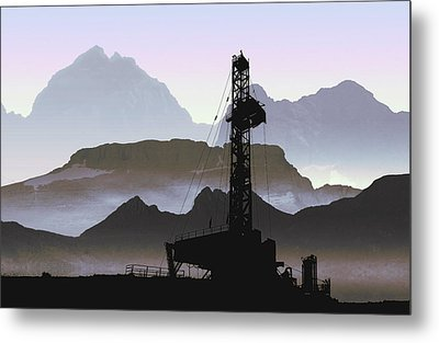 Out There Drilling Metal Print by Daniel Hagerman