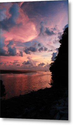 Out With A Roar Sunset Over Water Tarpon Springs Florida Metal Print by Robin Lewis
