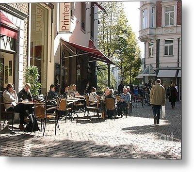 Outdoor Cafe Aachen Germany Metal Print