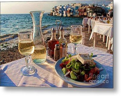 Outdoor Cafe In Little Venice In Mykonos Greece Metal Print by David Smith