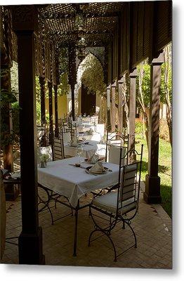 Outdoor Dining Area, Villa Des Orangers Metal Print