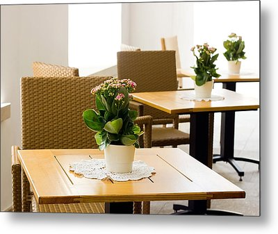 Outdoor Dining Tables Metal Print by Pati Photography