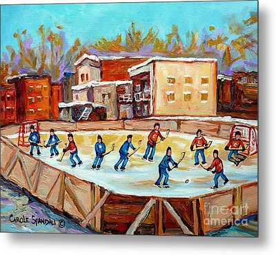 Outdoor Hockey Fun Rink Hockey Game In The City Montreal Memories Paintings Carole Spandau Metal Print by Carole Spandau