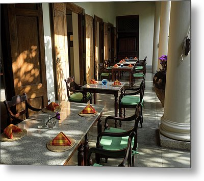 Outdoor Tables, Galle Fort Hotel Metal Print by Panoramic Images