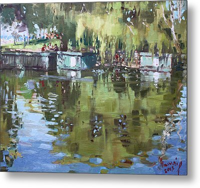 Outdoors At Port Credit Park Metal Print by Ylli Haruni