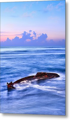 Outer Banks - Beached Boat Final Sunrise II Metal Print by Dan Carmichael