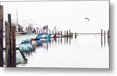 Outer Banks Fishing Boats Sketch #4 Metal Print
