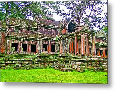 Outer Building Of Angkor Wat In Angkor Wat Archeological Park Near Siem Reap-cambodia  Metal Print by Ruth Hager