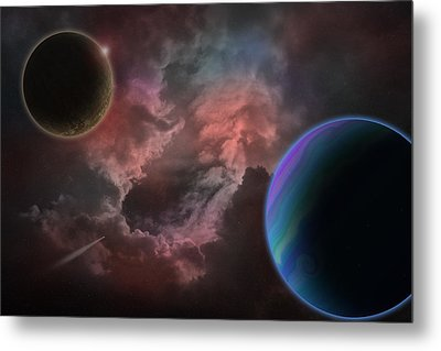 Outer Space Mystery Digital Painting Metal Print by Georgeta Blanaru