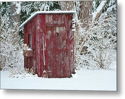 Outhouse Garden Shed In Winter, Marion Metal Print by Panoramic Images