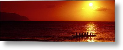 Outrigger Sunset Metal Print by Sean Davey