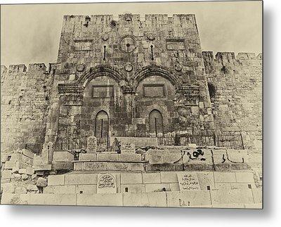 Outside The Eastern Gate Old City Jerusalem Metal Print by Mark Fuller