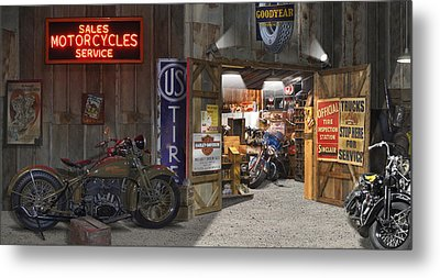 Outside The Motorcycle Shop Metal Print