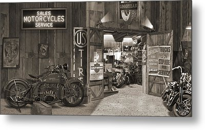Outside The Old Motorcycle Shop - Spia Metal Print